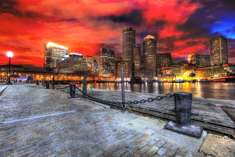 Boston Cityscape at Night 01 - RF Stock Photo