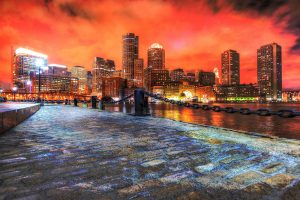 Boston Cityscape at Night 02 - RF Stock Photo