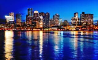 Boston Cityscape at Night 03 - RF Stock Photo