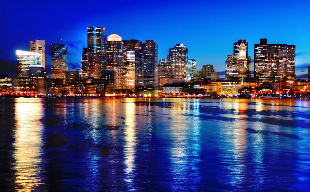 Boston Cityscape at Night 03 - RF Stock Photo