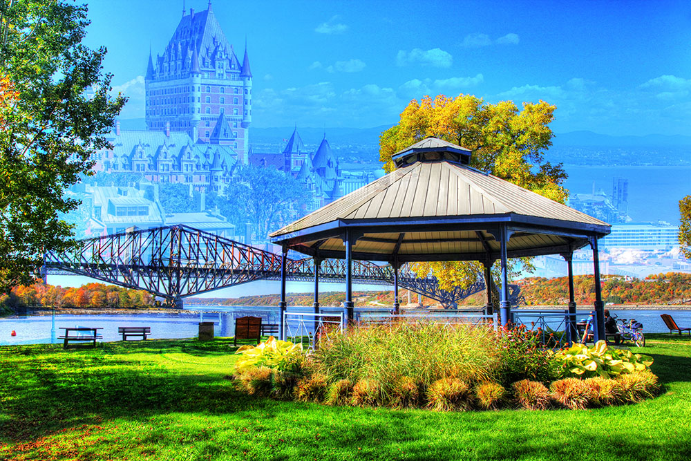 Quebec City Park and Bridge - RF Stock Photo