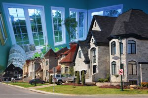 Cozy Neighborhood Photo Montage - RF Stock Photo