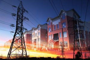 Domestic Energy Lines Photo Montage - RF Stock Photo