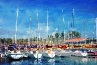 Sail Boats Marina Photo Montage - RF Stock Photo
