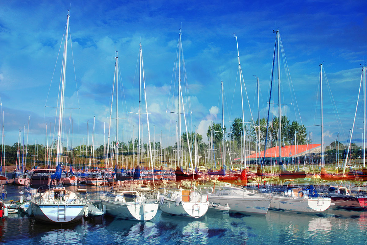 Sail Boats Marina Photo Montage - RF Stock Photo