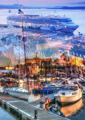 Urban Marina and Dock Photo Montage - RF Stock Photo