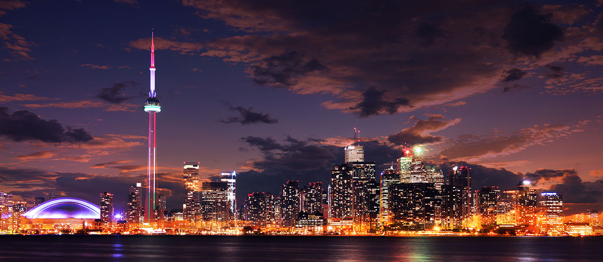 Toronto City Nighttime Skyline - RF Stock Photo