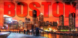 Boston City with Text 1 Stock Photo
