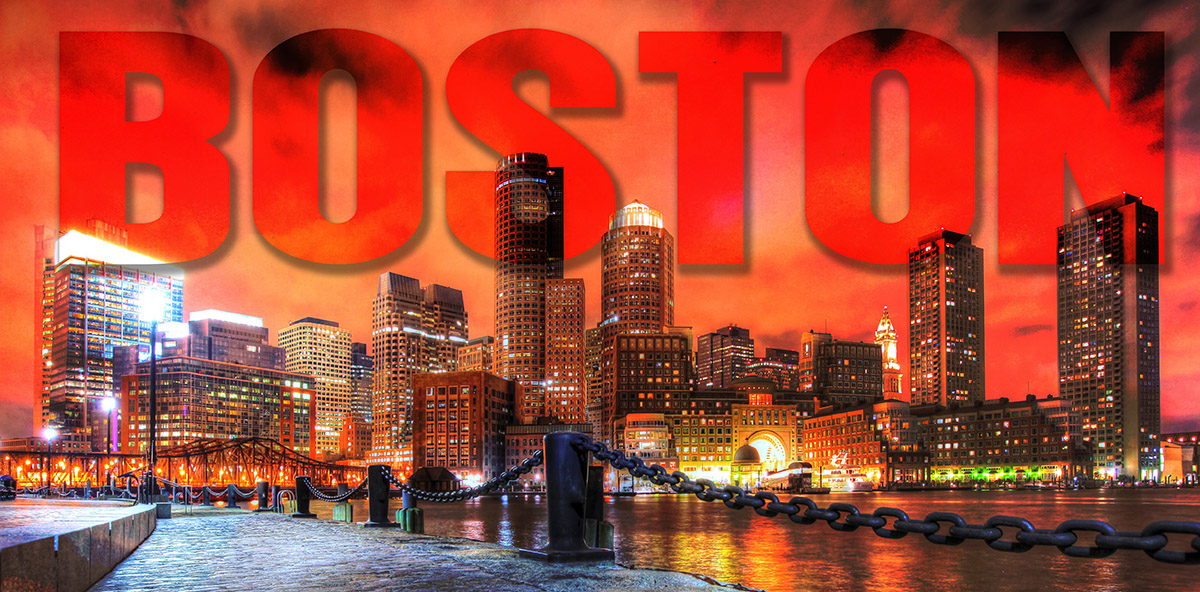 Boston City with Text 1 Stock Photo