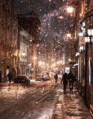 Bad Winter Weather in City Street - RF Stock Photo