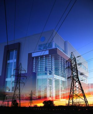 Office Building with Electric Pylons Photo Montage - RF Stock Photo
