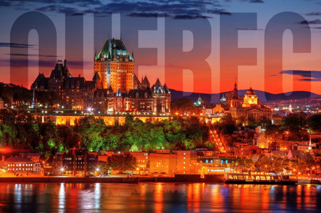 Quebec Frontenac Castle Montage with Text 02 - RF Stock Photo