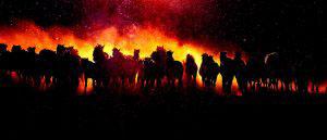 Blazing Group Of Horses Running - RF Stock Photo