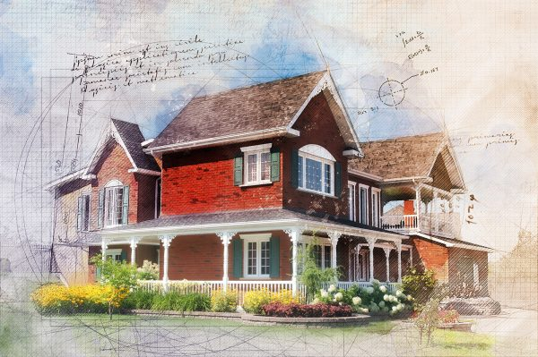 Beautiful Cottage Sketch Image - RF Stock Photo