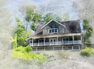 Beautiful Country House Sketch Image - RF Stock Photo