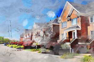 Colorful Urban Houses Sketch Image - RF Stock Photo
