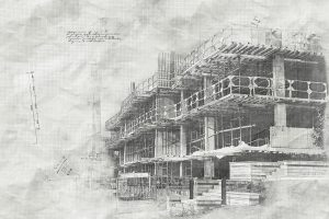 Construction Project Sketch B&W Image - RF Stock Photo