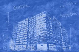 Large Condominium Building Sketch Blueprint Image - RF Stock Photo
