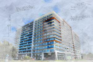 Large Condominium Building Sketch Image - RF Stock Photo