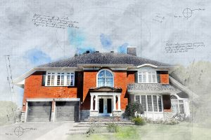 Large Luxury Habitation Sketch Image - RF Stock Photo