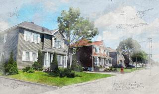 Modern Residential Neighborhood Sketch Image - RF Stock Photo