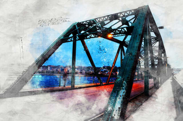 Old Bridge over the Saguenay River Sketch Image - RF Stock Photo