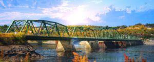 Old Saguenay Bridge and River - RF Stock Photo