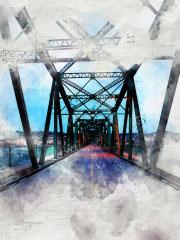 Old Saguenay City Bridge Sketch Image - RF Stock Photo
