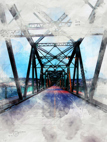 Old Saguenay City Bridge Sketch Image - RF Stock Photo