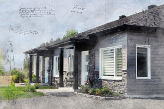 Semi Detached House Sketch Image - RF Stock Photo