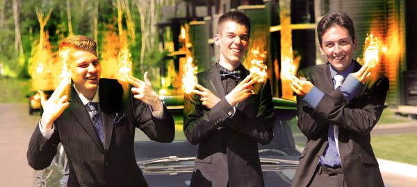 Young Men with Fingers on Fire - RF Stock Photo