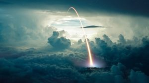 Missile Launch over the Cloudy Sky - RF Stock Photo