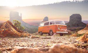 Vintage VW Camper Van Road Trip 01 - RF Stock Photo