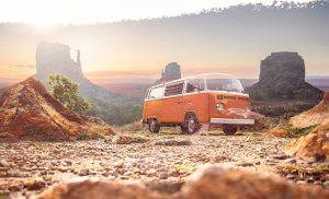 Vintage VW Camper Van Road Trip 01 - RF Stock Photo