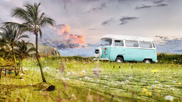 Vintage VW Camper Van Road Trip 02 - RF Stock Photo