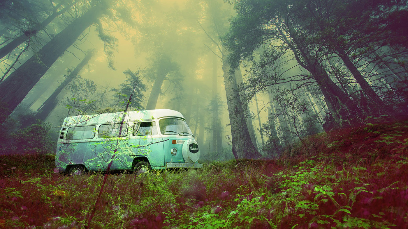 Vintage VW Camper Van Road Trip 03 - RF Stock Photo