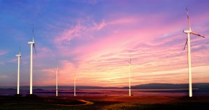 Windmills at Sunset 01 - RF Stock Photo