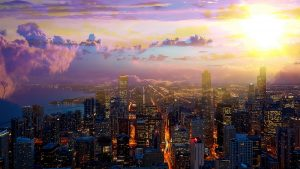 Beautiful Chicago City at Night 01 - RF Stock Photo