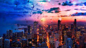 Beautiful Chicago City at Night 02 - RF Stock Photo