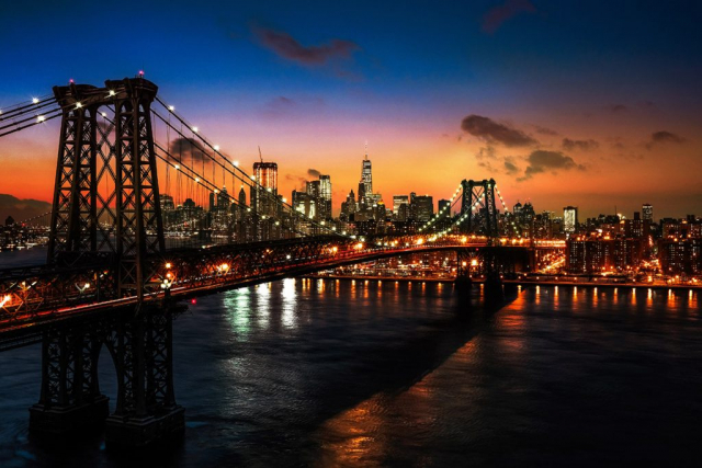 Colorful Sunset over the NYC Williamsburg Bridge 01 - RF Stock Photo