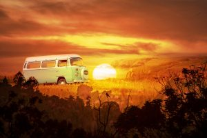 Vintage VW Camper Van Road Trip 05 - RF Stock Photo