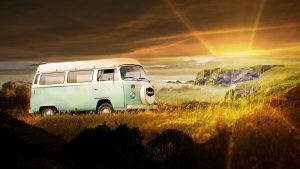 Vintage VW Camper Van Road Trip 06 - RF Stock Photo