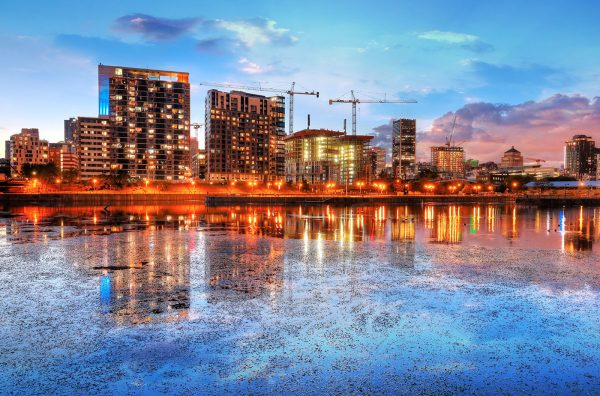 2020 Colorful Downtown Montreal Cityscape at Sunset - RF Stock Photo