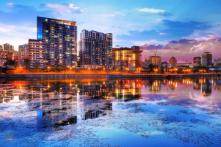 2020 Downtown Montreal City Water Reflection at Sunset - RF Stock Photo