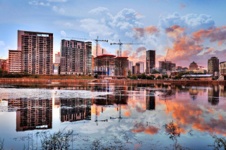 2020 Downtown Montreal Cityscape with Water Reflection - RF Stock Photo
