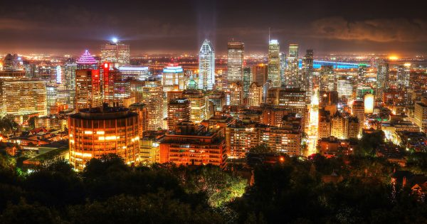 2020 Montreal City Sight at Night From Mount Royal Lookout - RF Stock Photo