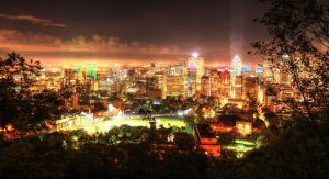 2020 Montreal City Sight at Night from the Mount Royal Hiking Trails - RF Stock Photo