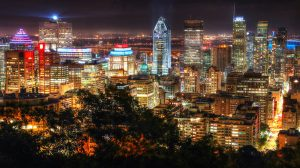 2020 Montreal City View at Night From Mount Royal Lookout Image - RF Stock Photo
