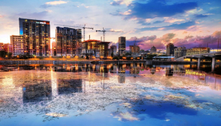 2020 Montreal City at Sunset with Water Reflection - RF Stock Photo