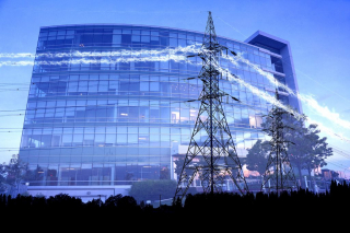 Business Electrification in Blue - RF Stock Photo